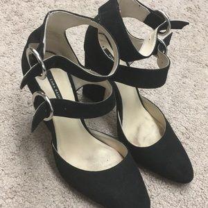 Black double strap heels